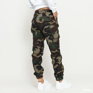 Petite High Waist Camouflage Cargo Pants Green